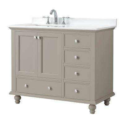 Orillia 42 in. W x 22 in. D Vanity in Greige with Marble Vanity Top in White with White Basin