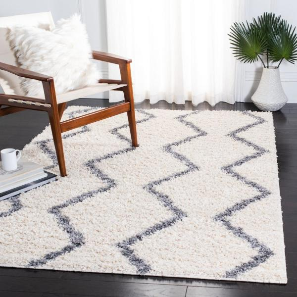 Safavieh Venus Shag Ivory Gray 8 Ft X 10 Ft Area Rug Vns680a 8 The Home Depot