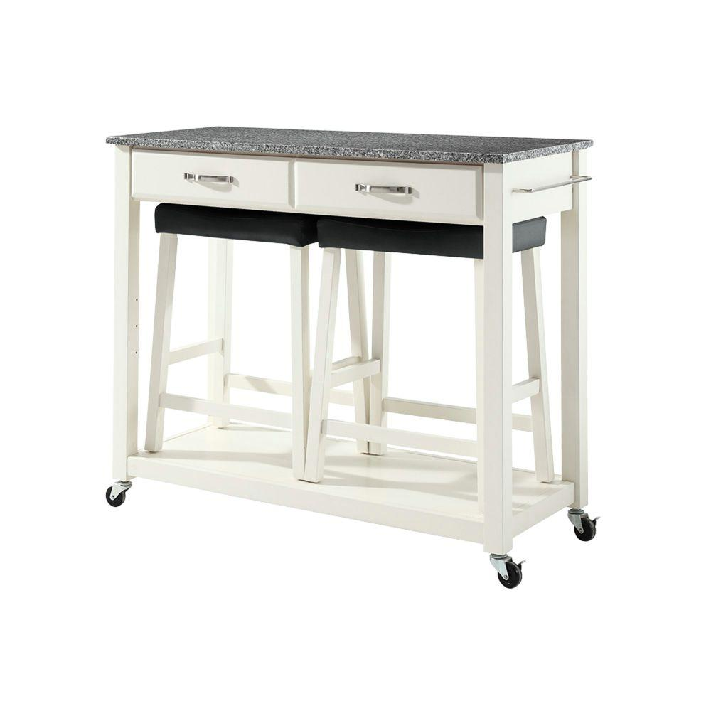 Crosley 42 in. Solid Granite Top Kitchen Island Cart with Two 24 in. Upholstered Saddle Stools in White