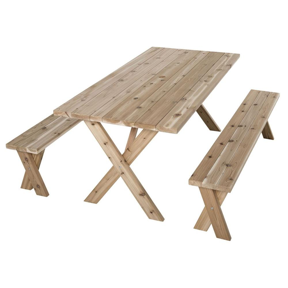 Jewett Cameron Lumber Corp 70 in  L x 35 in  W x 30 in  H Cedar Patio Picnic  Table with 2 Benches WT 73530   The Home Depot. Jewett Cameron Lumber Corp 70 in  L x 35 in  W x 30 in  H Cedar