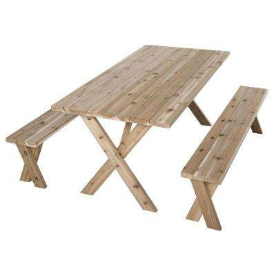 70 in. L x 35 in. W x 30 in. H Cedar Patio Picnic Table with 2 Benches