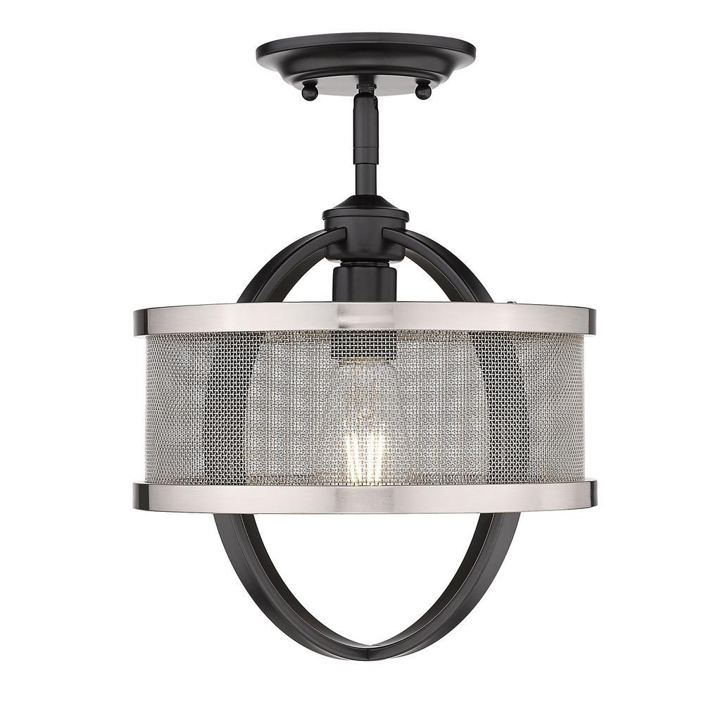 Colson 10.875 in. 1-Light Matte Black Semi-Flush Mount