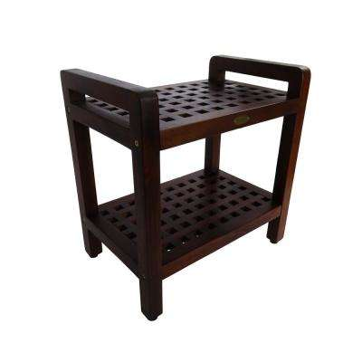 Espalier 20 in. Teak Lattice Shower Bench with Shelf And LiftAide Arms