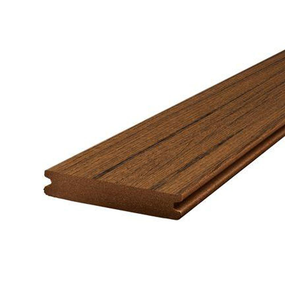 Trex Transcend 1 In X 5 5 In X 12 Ft Spiced Rum Grooved Composite Decking Board Sr010612tg01 The Home Depot