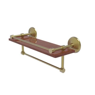 Monte Carlo Collection 16 in. IPE Ironwood Shelf with Gallery Rail and Towel Bar in Satin Brass