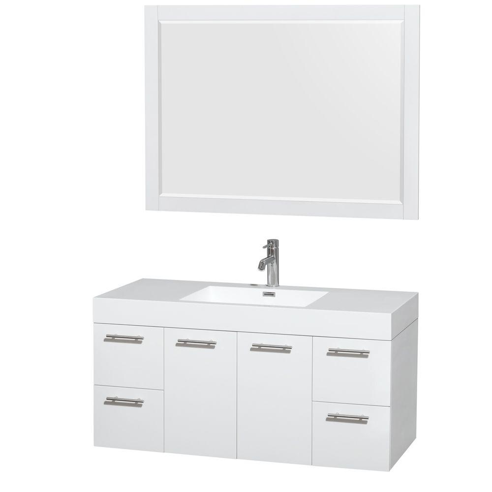 Amare 47 in. Vanity in Glossy White with Acrylic-Resin Vanity Top