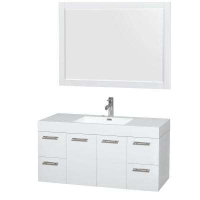 Amare 47 in. Vanity in Glossy White with Acrylic-Resin Vanity Top in White, Integrated Sink and 46 in. Mirror