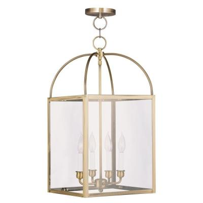 Providence 4-Light Antique Brass Incandescent Pendant