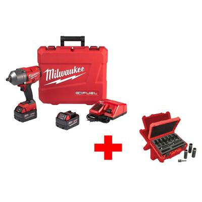 M18 FUEL 18-Volt Lithium-Ion Brushless Cordless 1/2 in. Gen II Impact Wrench W/ Pin Detent Kit with Socket Set (9-Piece)