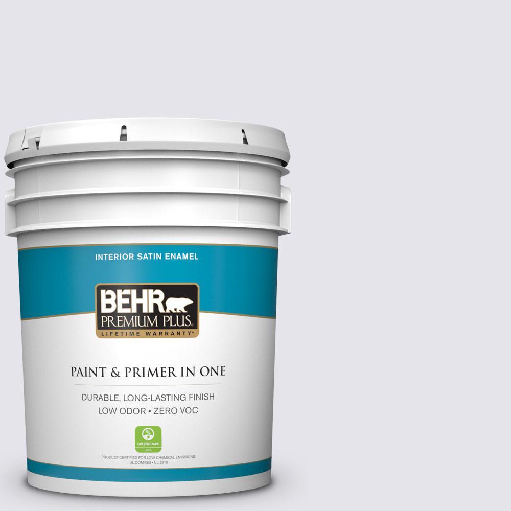 BEHR Premium Plus 5-gal. #620E-1 Lily Lavender Zero VOC Satin Enamel Interior Paint