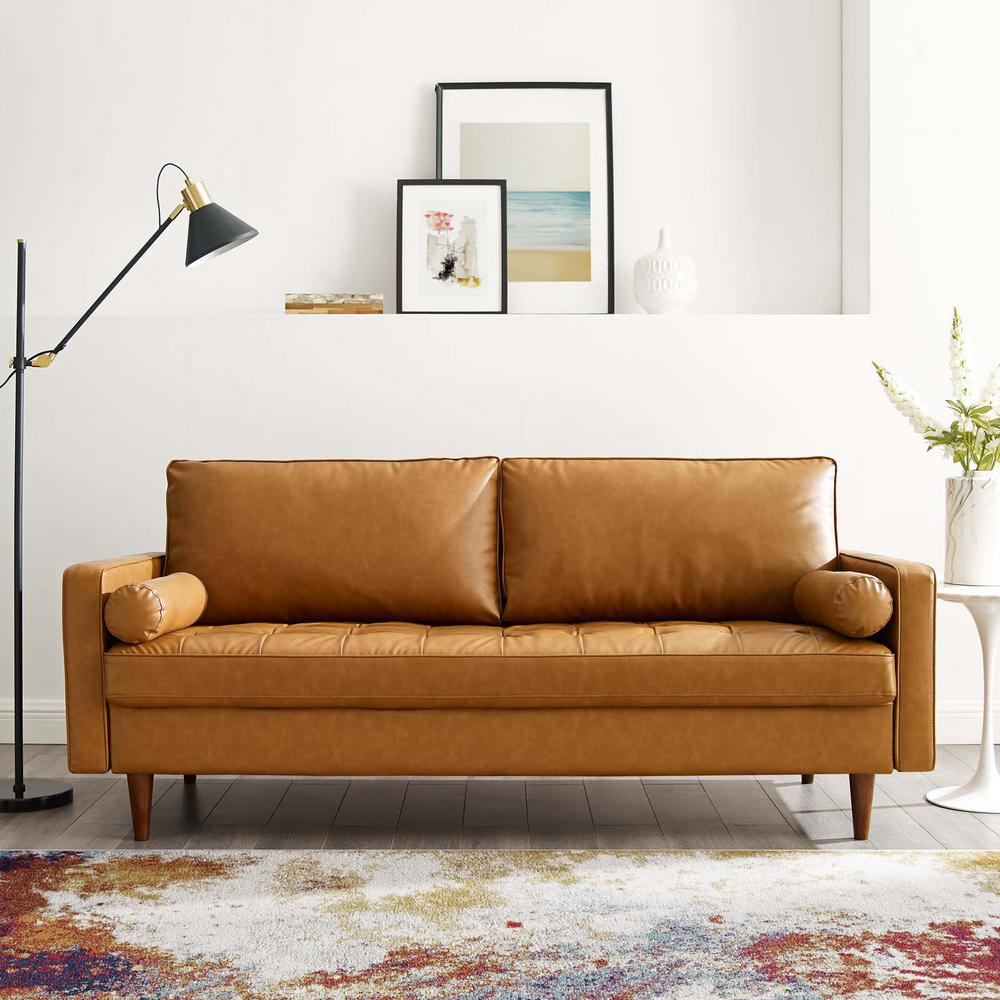 MODWAY Valour Upholstered Faux Leather Sofa in Tan
