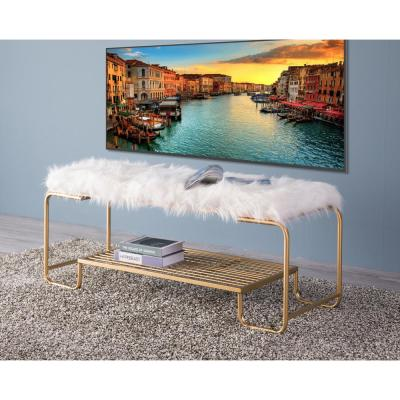 Rectangular Gold Metal Entryway Bench with White Fur Seat Top and Storage Shelf
