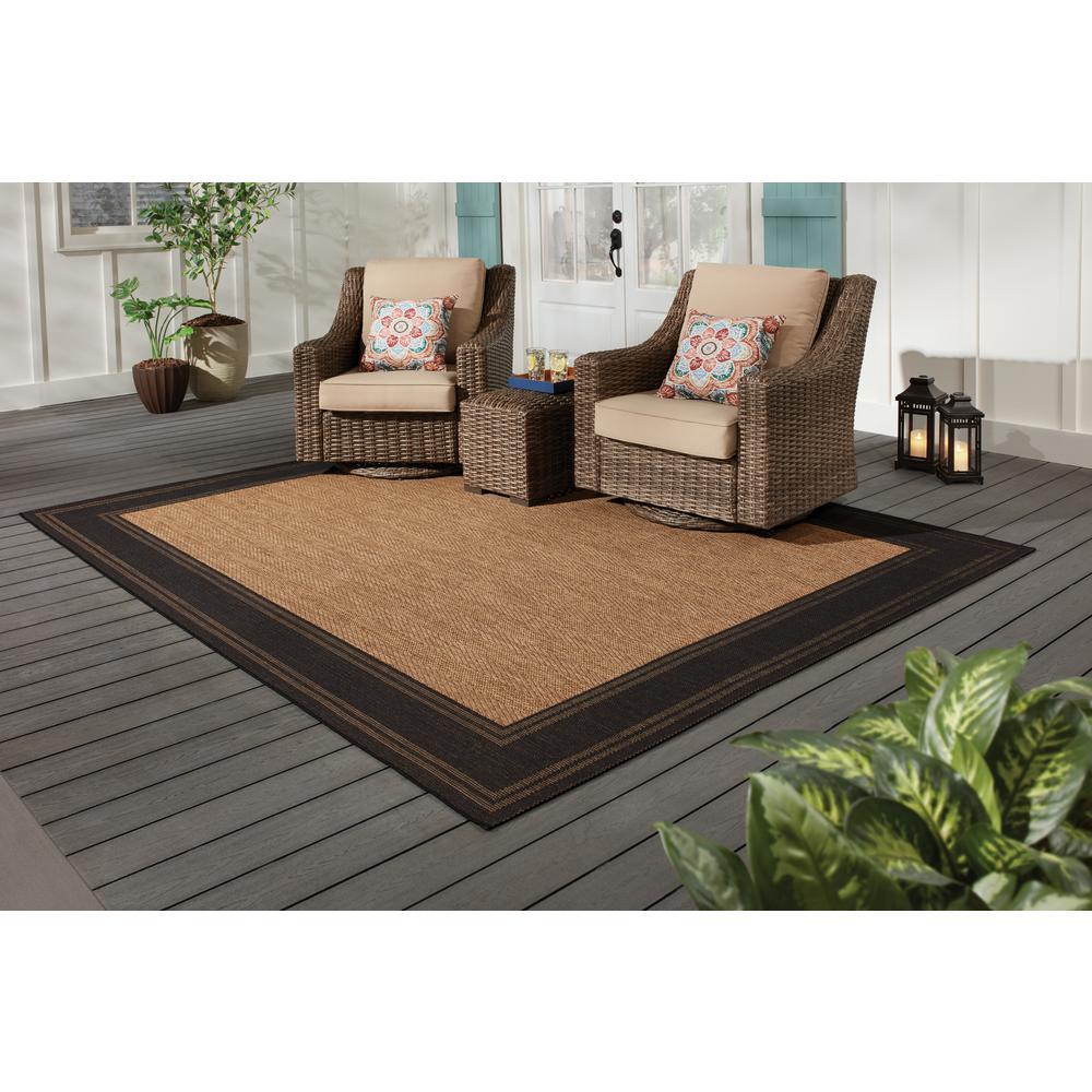 Brown with Black Border 5 ft. x 7 ft. Indoor/Outdoor Area Rug