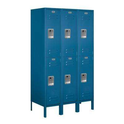 62000 Series 36 in. W x 66 in. H x 18 in. D 2-Tier Metal Locker Unassembled in Blue