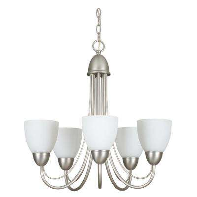 Willow 23 in. 5-Light Satin Nickel Chandelier