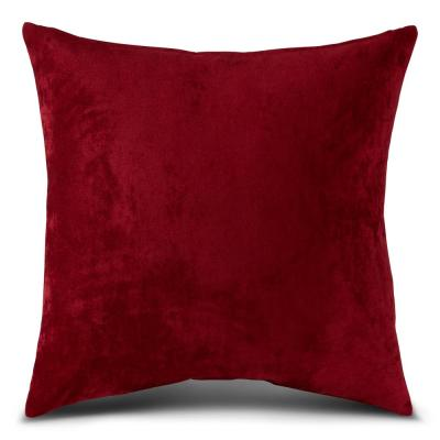 Solid Ruby Velvet 24 in. x 24 in. Square Throw Pillow Cover