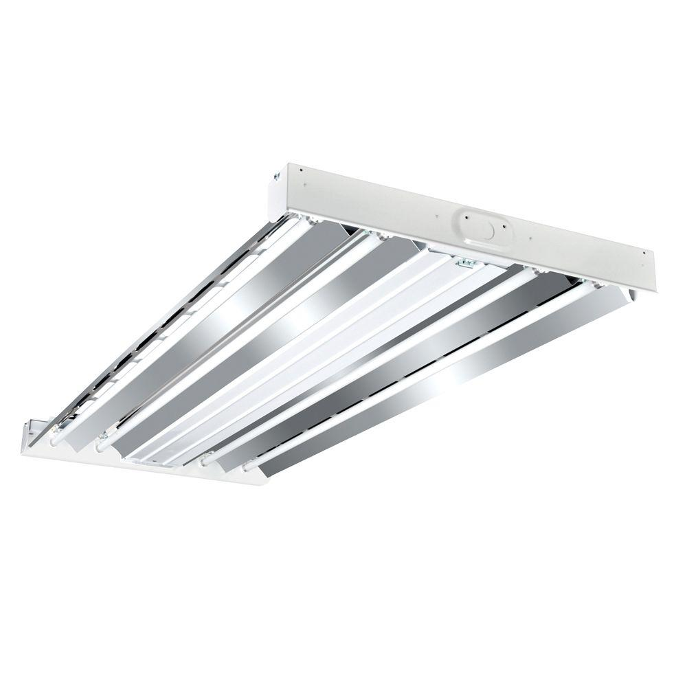 High bay lights commercial lighting the home depot 4 ft 4 lamp white industrial grade t5 fluorescent high bay light fixture arubaitofo Image collections