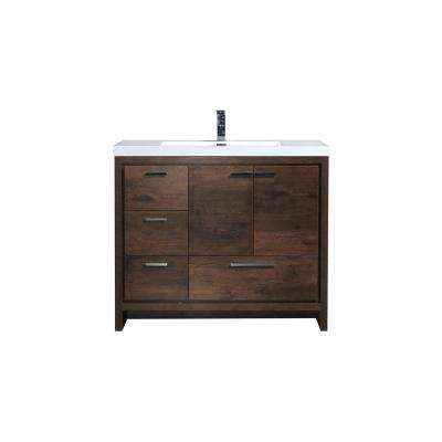 Dolce 42 in. W Bath Vanity in Rosewood with Reinforced Acrylic Top in White with White Basin and Left Side Drawers