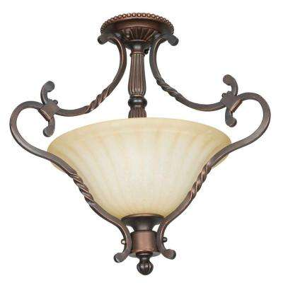 Hazelwood 2-Light Mahogany Brass Semi Flush Mount