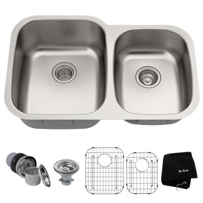 Premier Undermount Stainless Steel 32 in. 60/40 Double Bowl Kitchen Sink