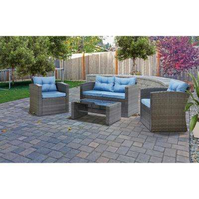 Roatan Grey 4-Piece Wicker Patio Conversation Set with Light Blue Cushions