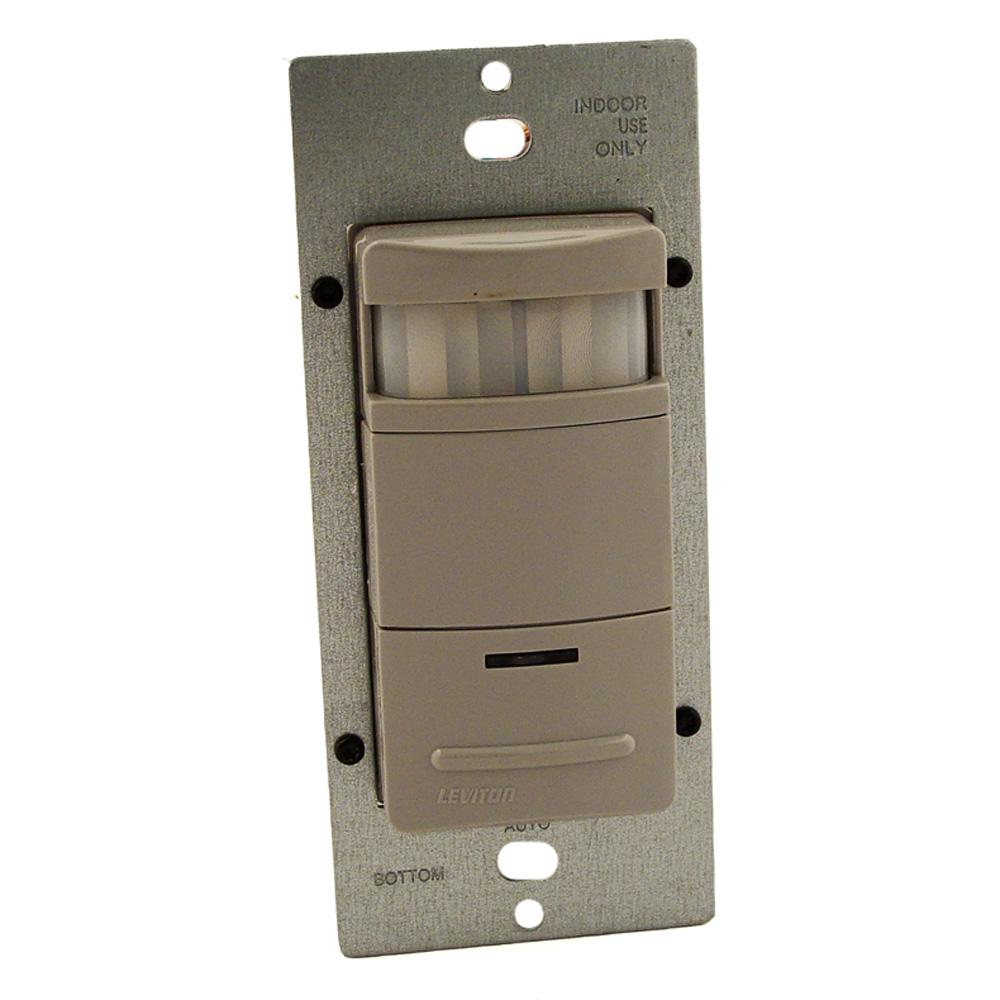 Leviton Decora Commercial Grade Passive Infrared Single-Pole 2100 sq. ft. 180-Degree Occupancy Sensor, Gray