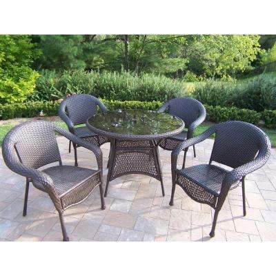 Elite Resin Wicker 5-Piece Patio Dining Set