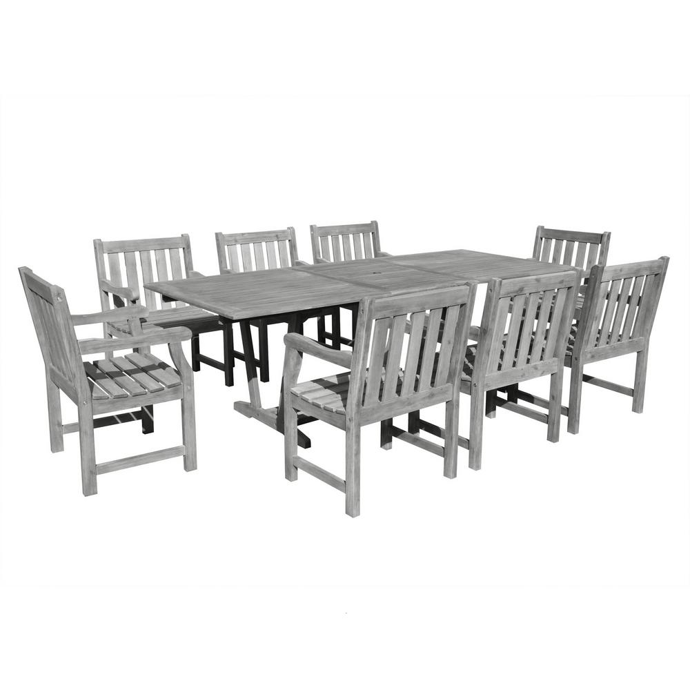 Vifah Renaissance 9 Piece Rectangle Patio Dining Set