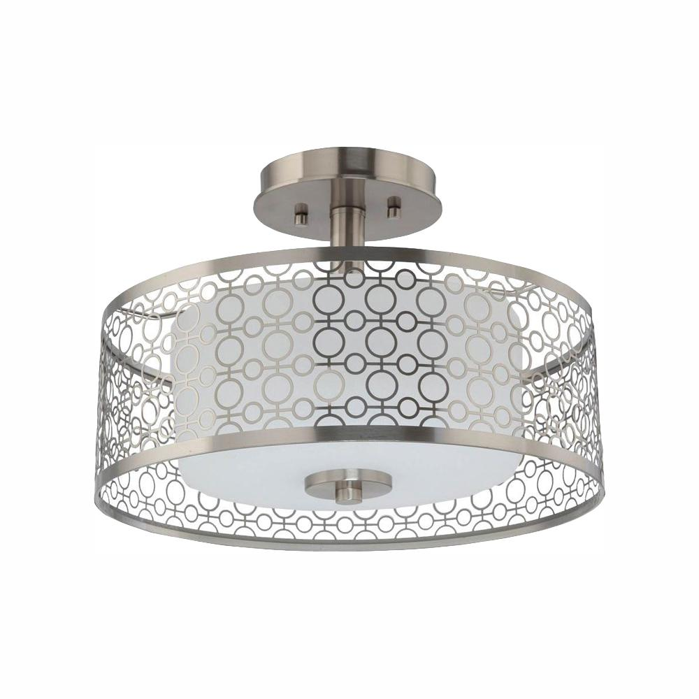 Home Decorators Collection 14 in. 1-Light Brushed Nickel Integrated LED Semi-Flush Mount with Circular Patterned Outer Shade and Glass Inner Shade