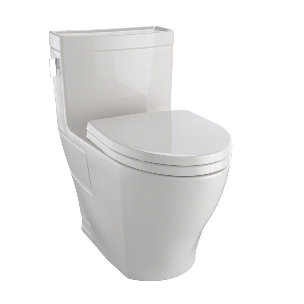 TOTO Legato 1-Piece 1.28 GPF Single Flush Elongated Skirted Toilet ...