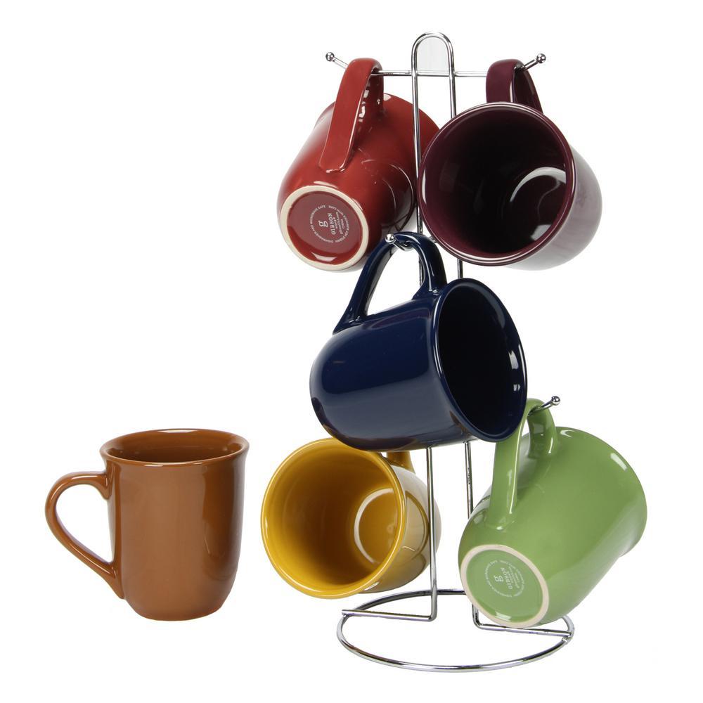 Cafe Amaretto Assorted Colors 15 oz. Mug Set (Set of 6)