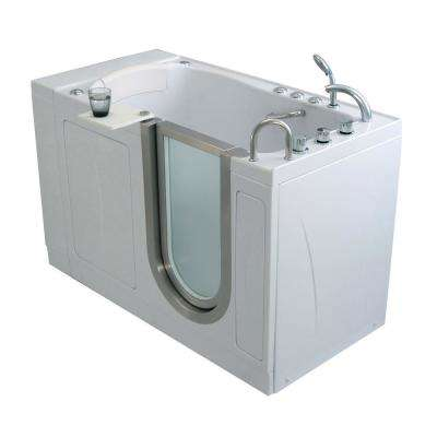 Elite Acrylic 52 in. Soaking Walk-In Tub in White with Heated Seat and RHS 2 in. Dual Drain