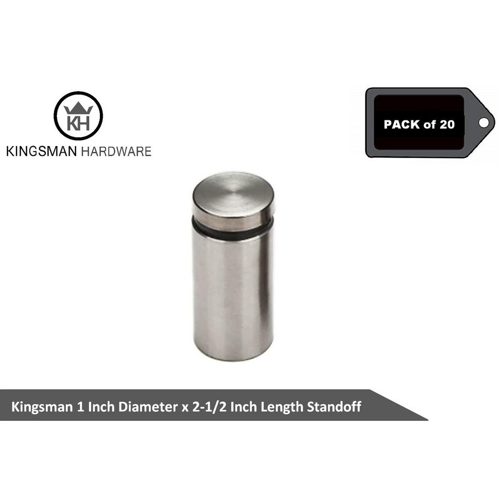 """1-1//2/"""" Diameter 1//2/"""" Base Stainless Steel Standoff Hardware for Glass Display"""