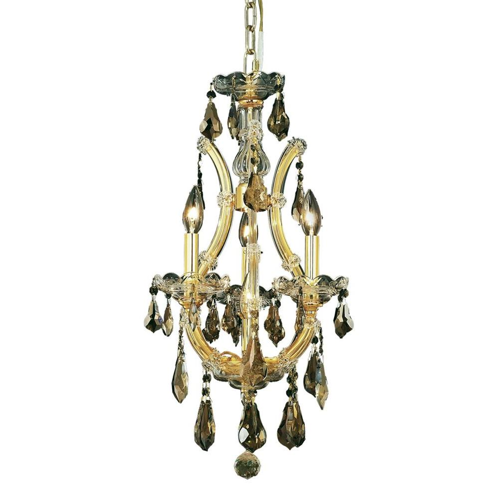 Elegant Lighting 4-Light Gold Chandelier with Golden Teak Smoky Crystal-EL2801D12G-GT/RC - The ...