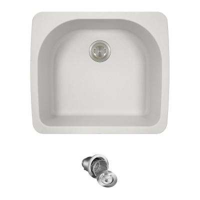 All-in-One Drop-in Granite Composite 25 in. Single Bowl Kitchen Sink in White