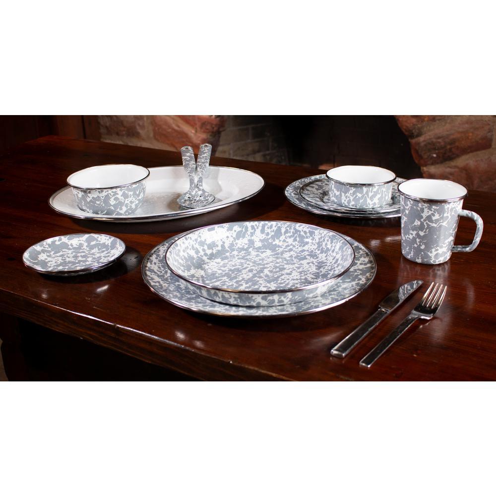 Grey Swirl 3-cup Enamelware Salad Bowl Set of 4