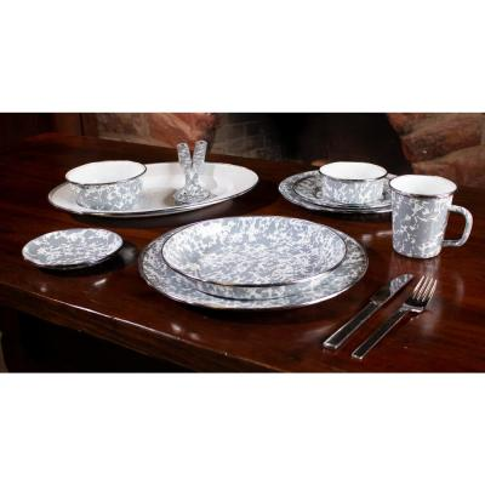 10.5 in. Grey Swirl Enamelware Round Dinner Plate Set of 4