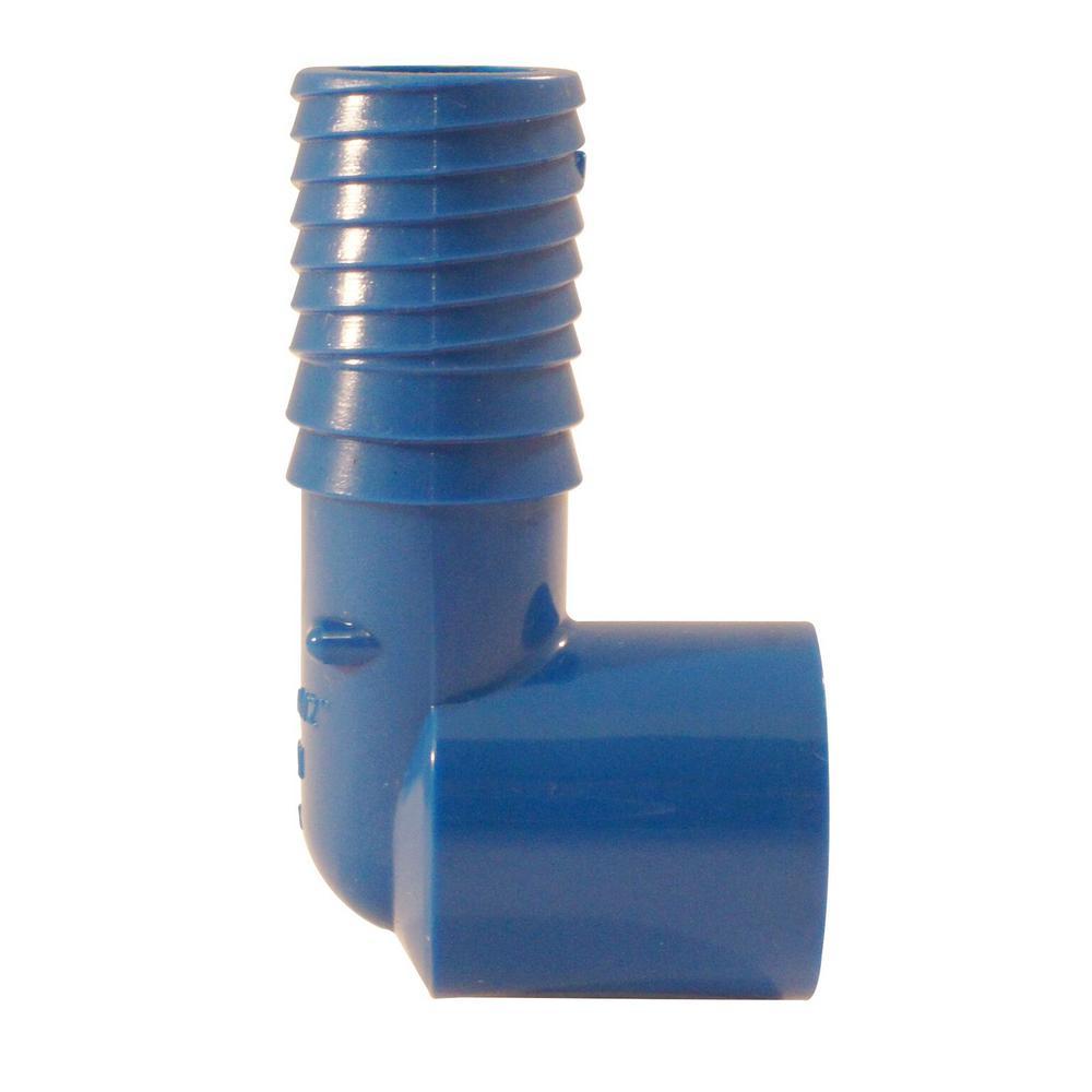 3/4 in. x 1/2 in. Polypropylene Blue Twister Insert x 90 Degree FPT Elbow