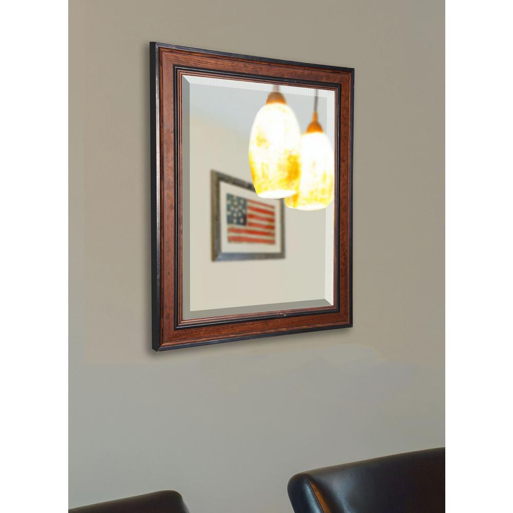 39.5 in. x 33.5 in. Country Pine Beveled Rounded Wall Mirror
