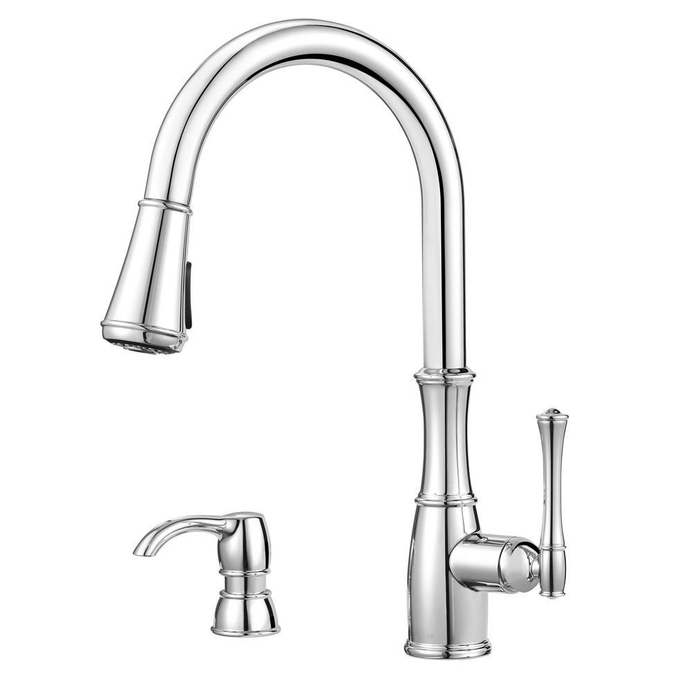 pfister port haven 2 handle bridge kitchen faucet in polished nickel rh homedepot com