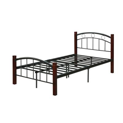 Complete Queen Metal Bed with Headboard, Footboard and Mahogany Wood Posts