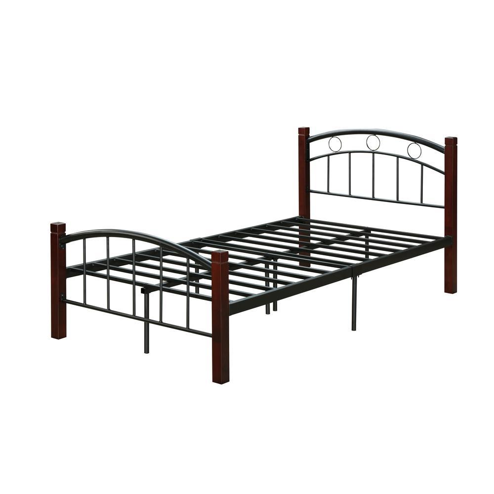 Hodedah Complete Queen Metal Bed With, Queen Metal Bed Headboard Footboard