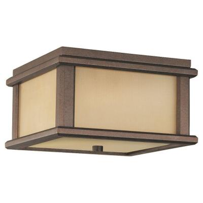 Feiss Mission Lodge 2-Light Corinthian Bronze Outdoor Ceiling Fixture