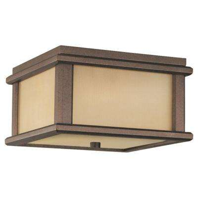 Mission Lodge 2-Light Corinthian Bronze Outdoor Ceiling Fixture