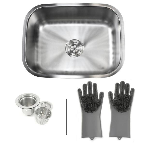 Emoderndecor Undermount 16 Gauge Stainless Steel 23 3 8 In Single Bowl Kitchen Sink In Satin Pearl W Silicone Gloves Strainer 16g 964 Sggry The Home Depot