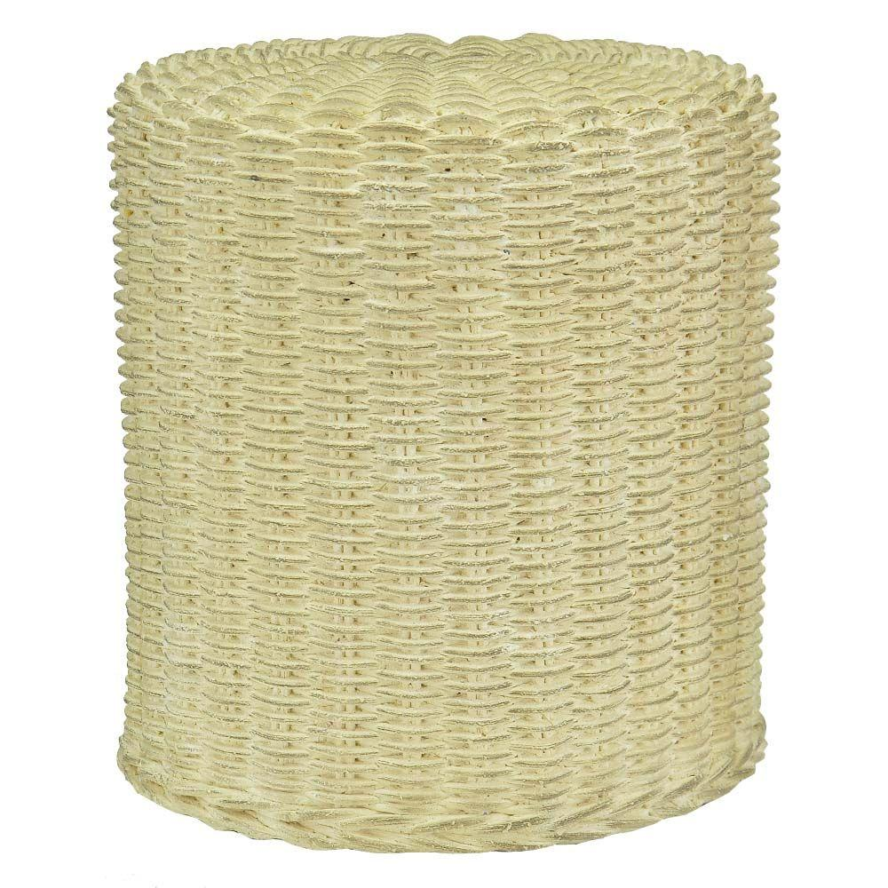 MPG 1812 in H Cast Stone Faux Wicker Garden Stool in Burnished