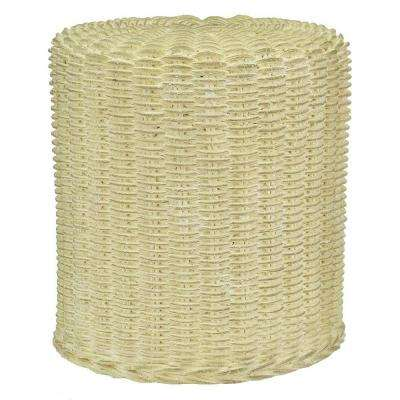 18-1/2 in. H Cast Stone Faux Wicker Garden Stool in Burnished Aged Limestone