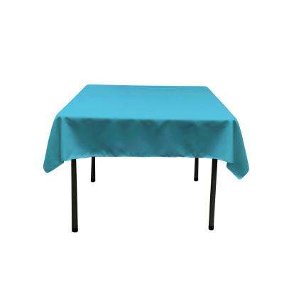 52 in. x 52 in. Dark Turquoise Polyester Poplin Square Tablecloth