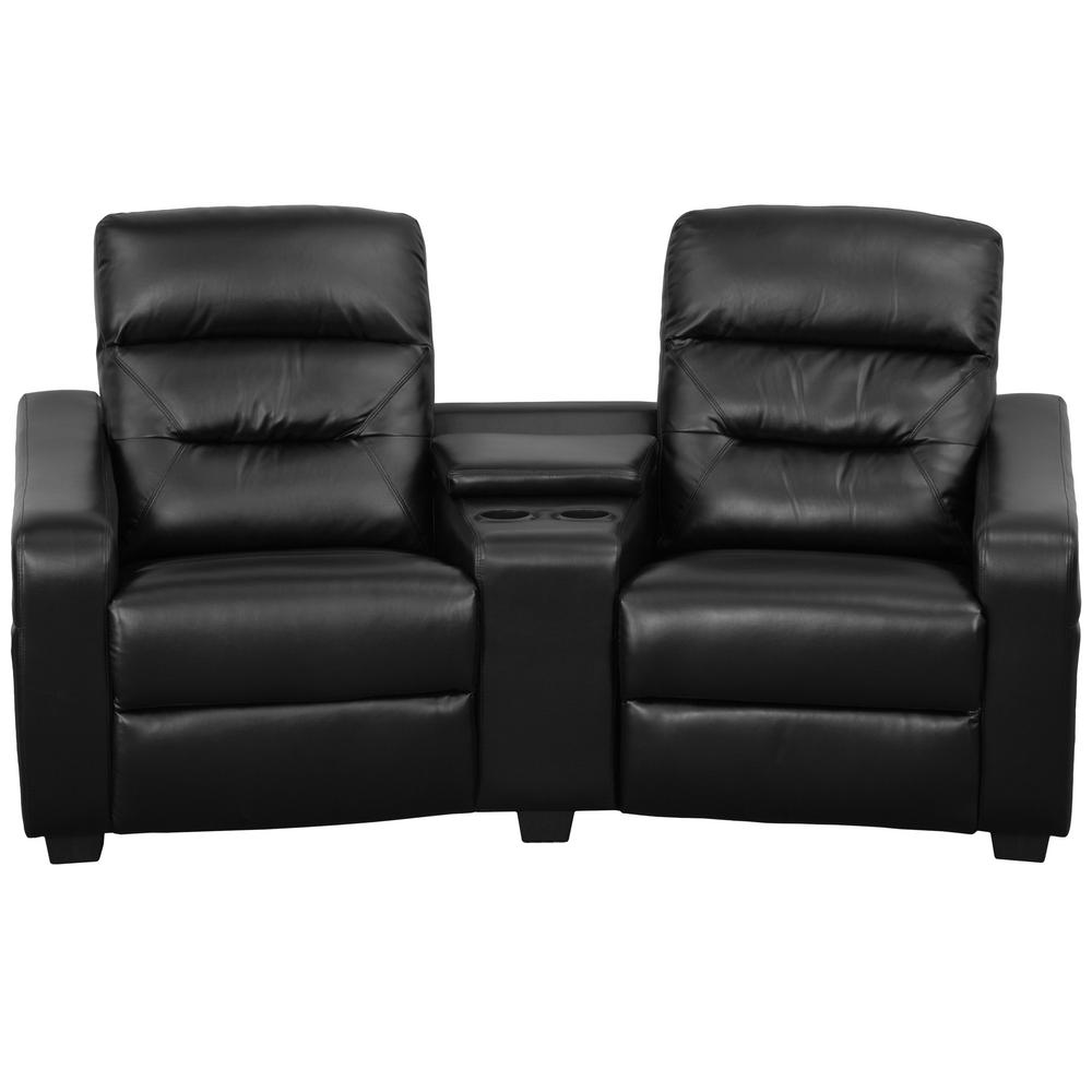 Flash Furniture Futura Series 2 Seat Reclining Black Leather Theater Seating Unit With Cup Holders Bt703802bk The Home Depot