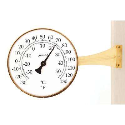 Vermont Large Dial Thermometer in Living Brass